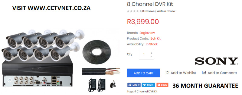 8 Channel True HD DVR CCTV Kit with 36 month guarantee