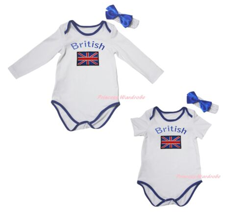 Union Jack British Flag Blue White Baby Cotton Girl Bodysuit Jumpsuit Set NB-18M