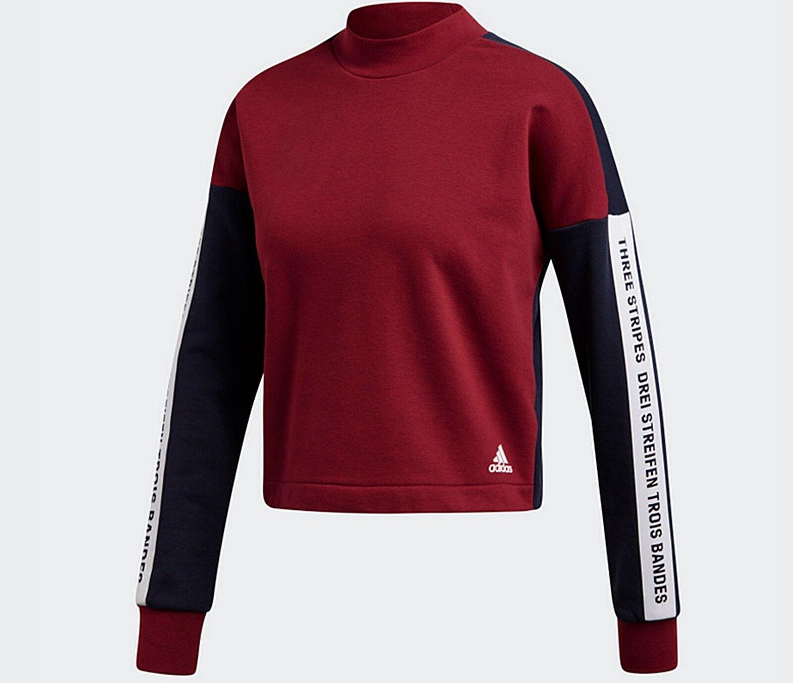 Adidas womens Athletics Sport ID Sweatshirt top brand with 3 stripes print NEW M