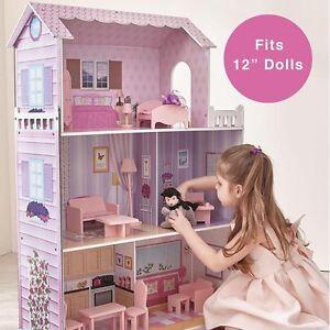 TEAMSON-FANCY-MANSION-WOODEN-KIDS-DOLLHOUSE-DOLLS-HOUSE-amp-FURNITURE-FITS-BARBIE