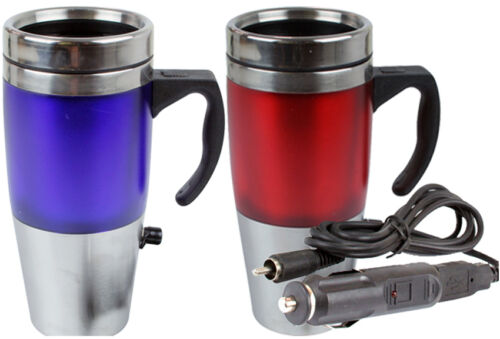 12V AUTO USB HEATED TRAVEL MUG FLASK STAINLESS STEEL WITH CAR & USB CHARGER NEW