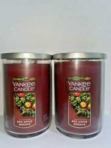 ☆☆RED APPLE WREATH☆☆SET OF 2 LARGE YANKEE CANDLE 2 WICK TUMBLER☆☆FREE SHIPPING