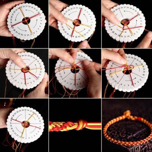 2Pcs Disco Redondo Cuadrado Kumihimo cordón trenzado macramé Cadena Pulsera hecha a mano