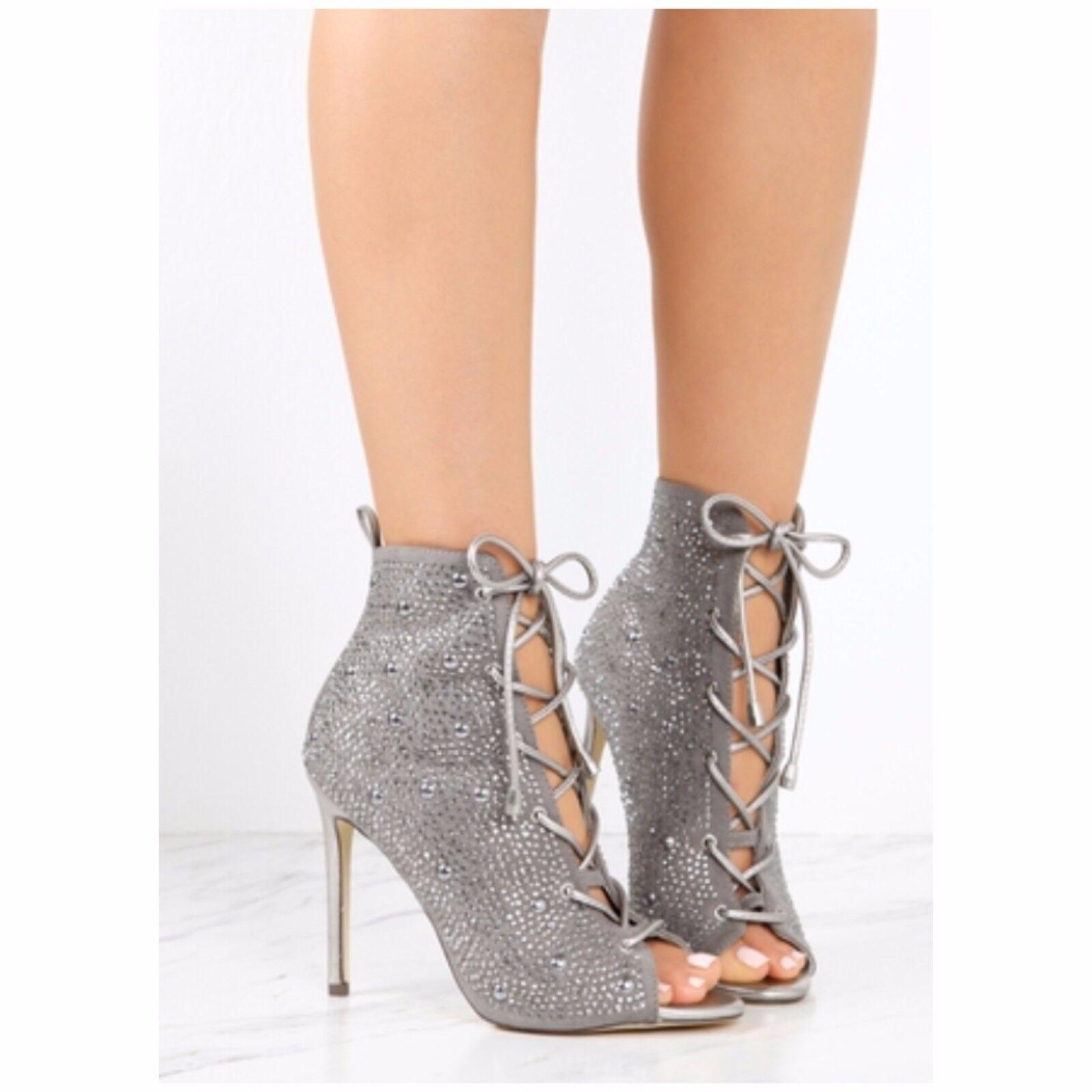 Liliana BARBARA-48 Silver Gray  Lace Up Stiletto Ankle Boot Rhinestone Details
