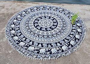 Indian-Elephant-Mandala-72-034-Round-Black-Tapestry-Beach-Throw-Decor-Mat-Pom-Lace