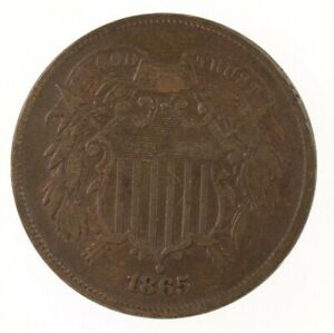Raw-1865-Two-Cent-2C-Fancy-5-Ungraded-US-Mint-Circulated-Copper-Coin