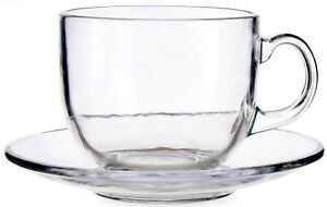 Set of 6 Extra Large Clear Glass Coffee Mugs Soup Mugs 397ml Capacity