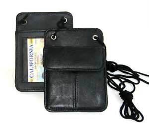 Black-Leather-ID-Badge-Card-Holder-Wallet-Neck-Strap-Travel-Work-Lanyard