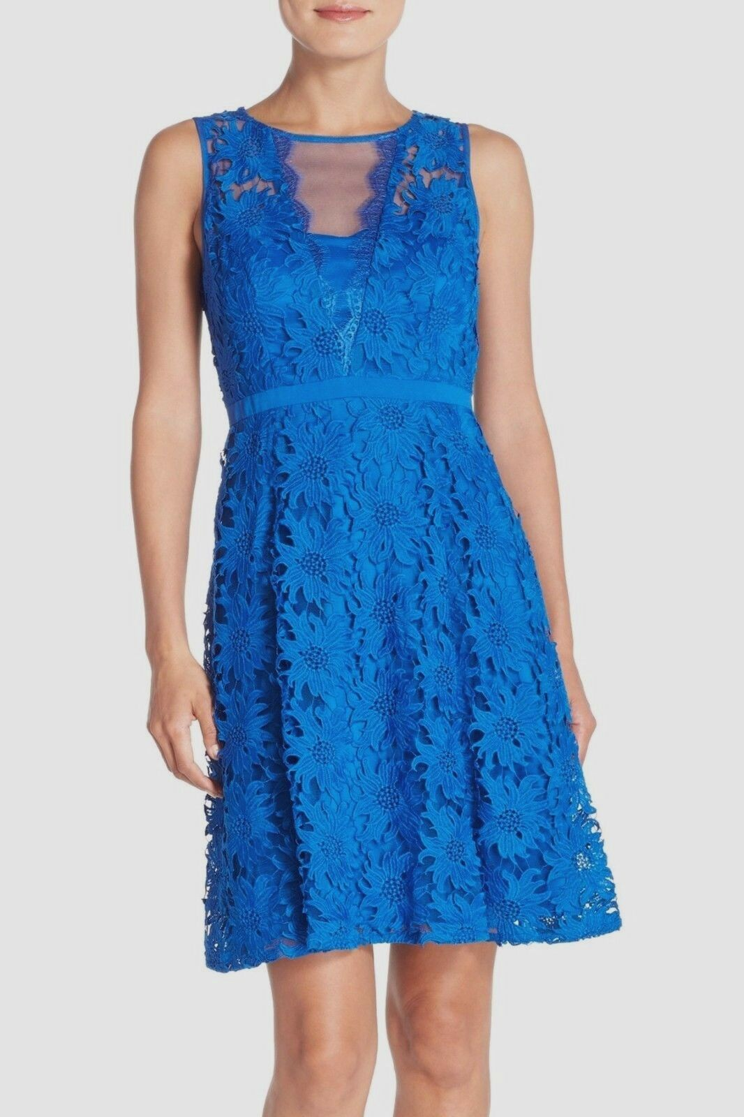 NWT Adrianna Papell Illusion Floral Lace Fit & Flare Dress Blau [SZ 12]  N570