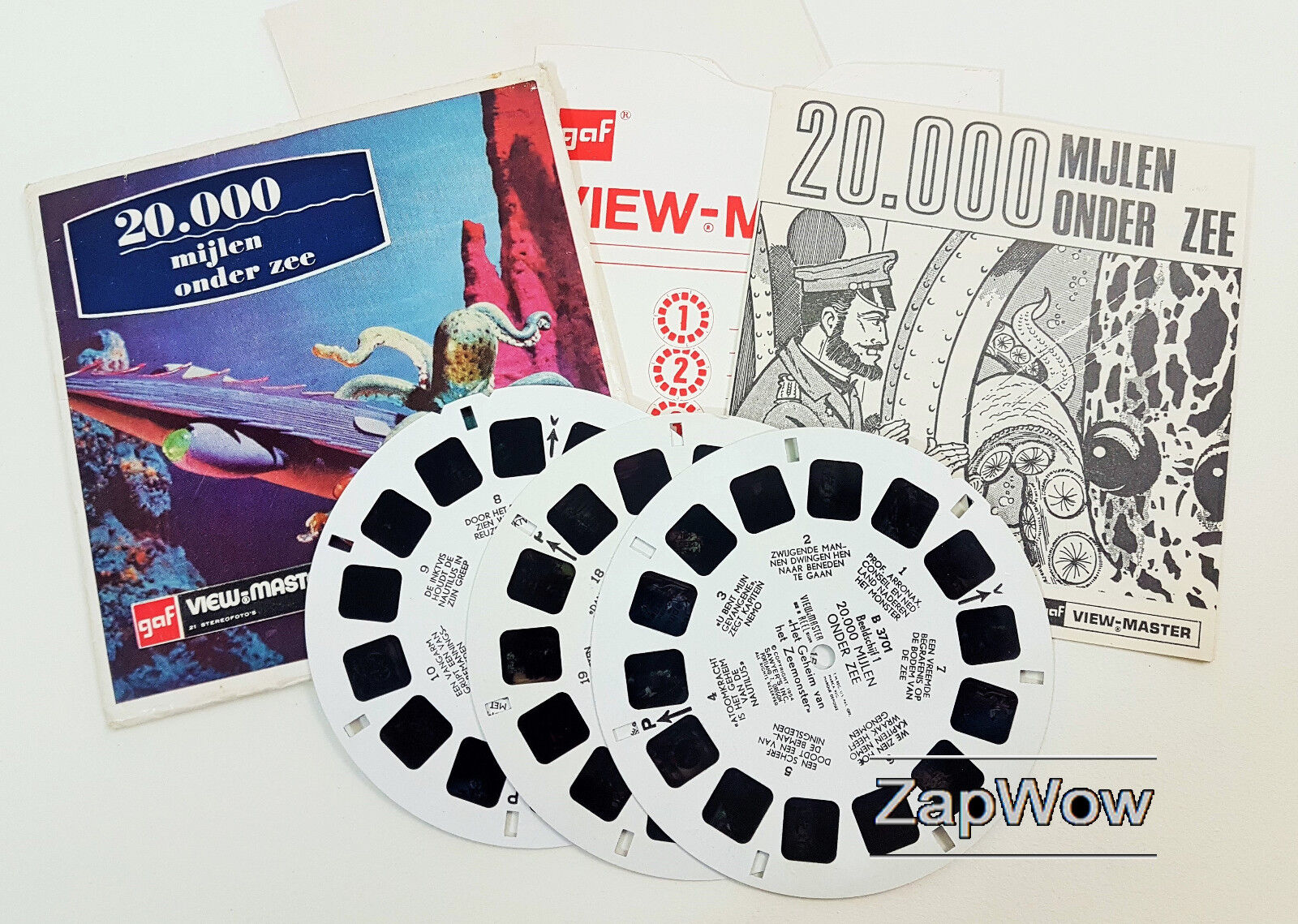 20,000 MIJLEN ONDER ZEE VIEWMASTER 1950s Story Reels Set B370 Dutch League Sea