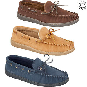 aa6530afcb1c Image is loading MENS-GENUINE-LEATHER-MOCCASINS-SLIPPERS-FUR-LINED-LOAFERS-