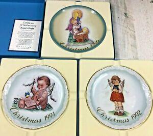 1990-1992 Christmas Plate Limited Edition Schmid Hummel Baby Jesus Manger Angels