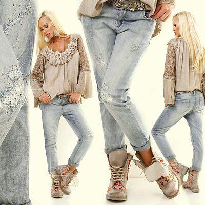 Jeans blau hellblau 38 40 42 44 46 48 kurvy  Stretchjeans glitzer destroyed Dame