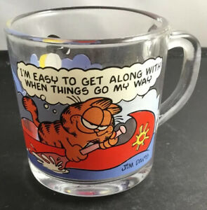 Vintage Garfield McDonalds 1978 Complete Set of 4 Character Glass Cups Mugs EUC