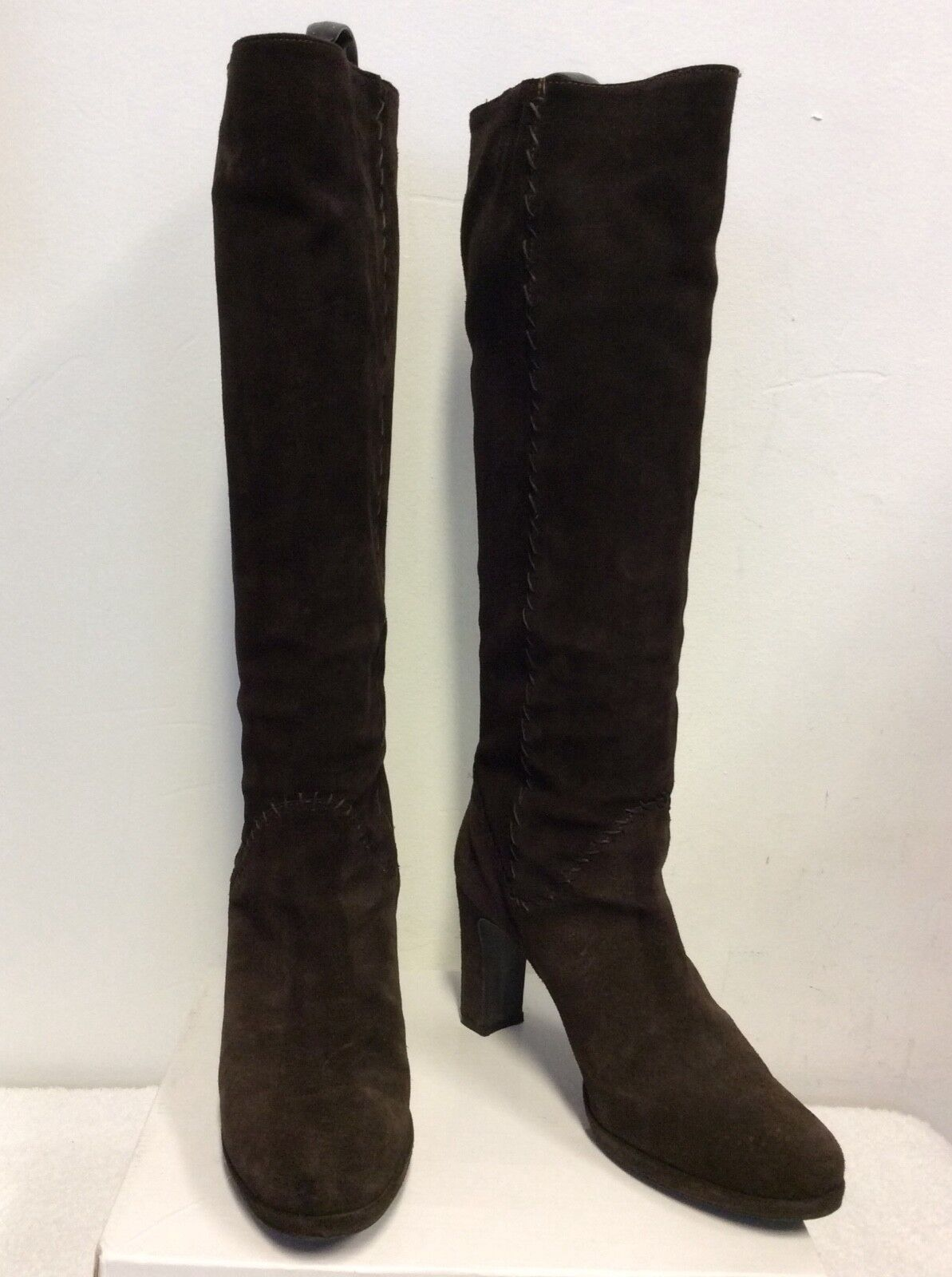 DOLCIS  STITCH DARK BROWN SUEDE STITCH  TRIM KNEE LENGTH Stiefel SIZE 6/39 3f8a3b