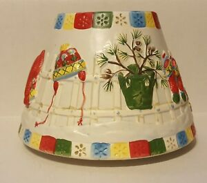 Yankee-Candle-Shade-Topper-Winter-Christmas-Vintage-Large-6-1-2-Inch-Diameter