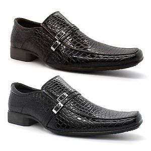 1f96a5e5f15 Details about New Mens Slip On Shoes Dress Formal Pointed Black Faux Croc  Patent Leather Size