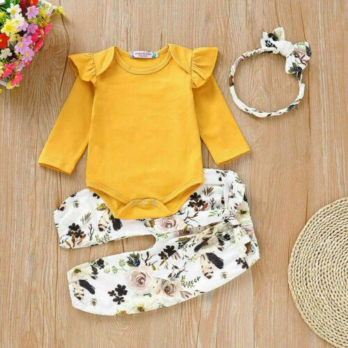 Infant Newborn Baby Girl Floral Print Top Pants Headband 3Pcs Outfit Set Clothes