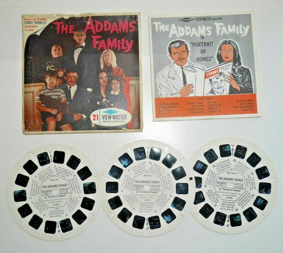 THE ADDAMS FAMILY VIEWMASTER REELS 1965 COMPLETE SET B486 VERY RARE   D153