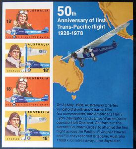 Australian Decimal Stamps:1978 50th Ann 1st Trans-Pacific Flight Mini Sheet MNH