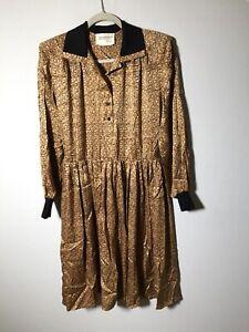 Francesca-Of-Damon-For-Starington-Golden-Brown-Silk-Dress-Size-10-Vintage