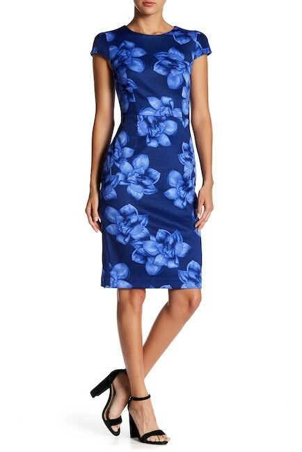 BETSEY JOHNSON damen Blau Floral-Printed Knit Midi SHEATH DRESS Größe 8