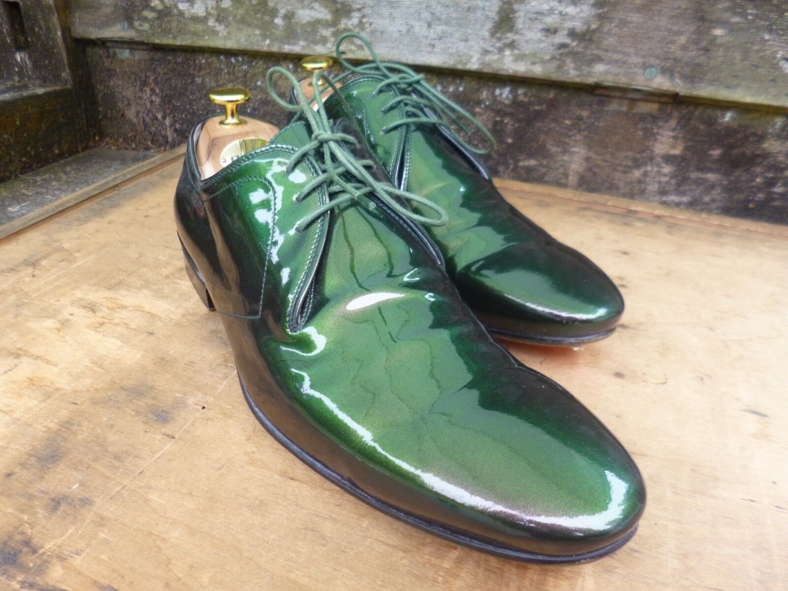 ALEXANDER MCQUEEN Scarpe Derby – Metallico Verde-Regno Unito 8.5 – Ottime condizioni