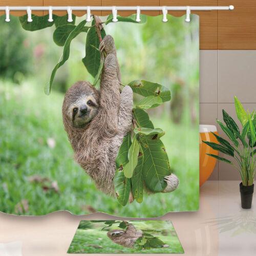Sloth climbing trees Shower Curtain Bathroom Decor Fabric /& 12hooks 71*71inches
