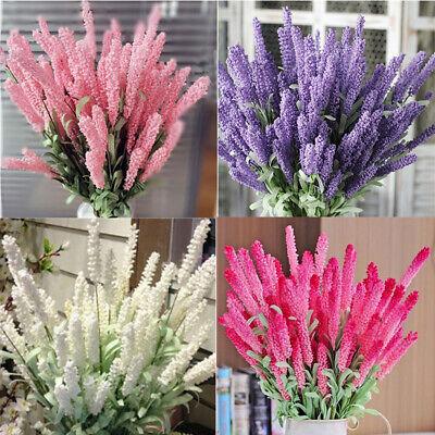 6 Heads Artificial Lavender Bouquet Fake Silk Flowers Wedding Party Home Decor /&