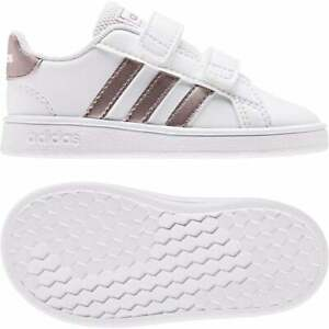 Details about ADIDAS Infants Grand Court Trainers (White / Rose Gold)