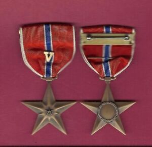WWII-Bronze-Star-Award-medal-Genuine-WW2-V-device-VALOR-1944