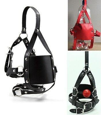 Soft Solid Ball Gag Mouth Cover Head Hood Fetish Dungeon Restraint Leather mask