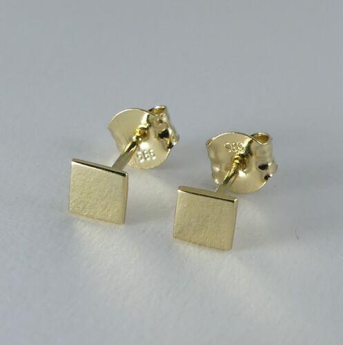 585er Gold 14 Karat Ohrstecker Quadrat 3,5 x 3,5 mm K947