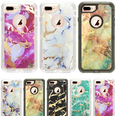 new style 39777 7bbd9 Marble Clear Defender Transparent Case For iPhone 7 Plus Fits With Otterbox  Clip | eBay