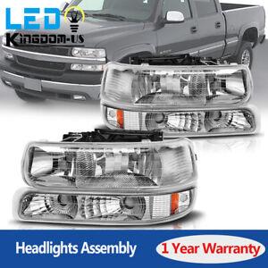 For 99-02 Chevy Silverado 00-06 Suburban Tahoe Headlights + Bumper Signal Lamps
