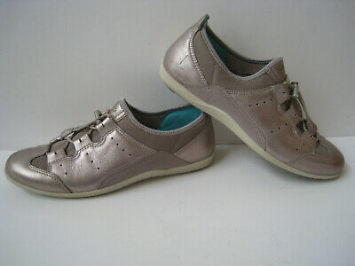 ECCO Dayla Lace Metallic Grey Sneakers Women's EUR Size 40 US Size 9 9.5