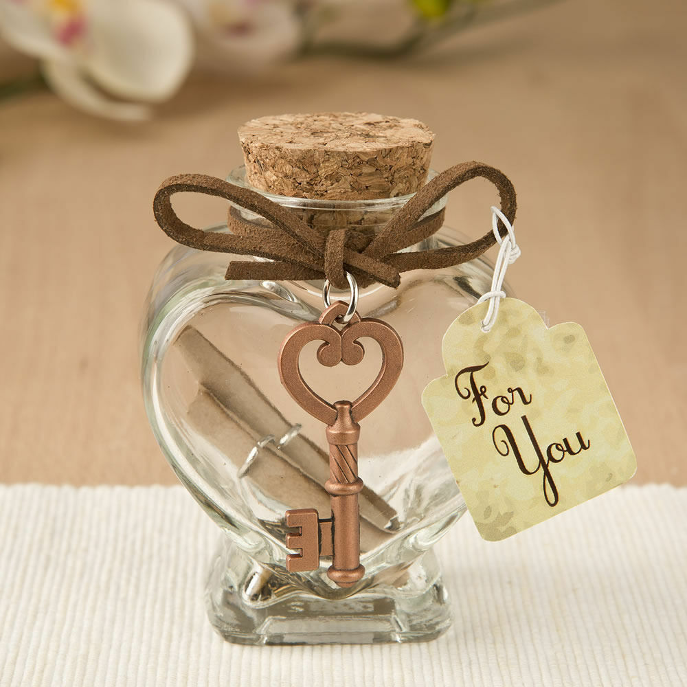 25-70 Glass Heart Message Jar w  Copper Metal Key- Wedding Shower Party Favor