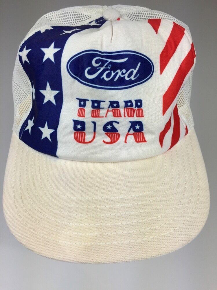 Vintage Mesh Trucker Snap Back Hat White White White FORD TEAM USA 05d6b1