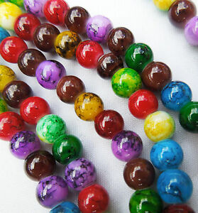 50-Round-Mixed-Jewel-Colour-Jewellery-Making-Glass-Beads-Multi-Coloured