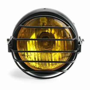 Mesh-Grill-Metal-Retro-LED-Headlight-Lamp-Side-Mount-For-Motorcycle-Cafe-Racer