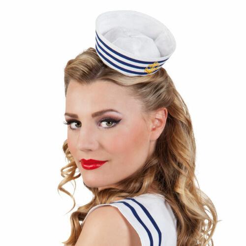 Mini-Matrosenmütze mit Haarreif blau-weiß