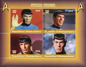 Madagascar-2018-CTO-Star-Trek-Spock-Leonard-Nimoy-4v-M-S-Movies-Film-Stamps