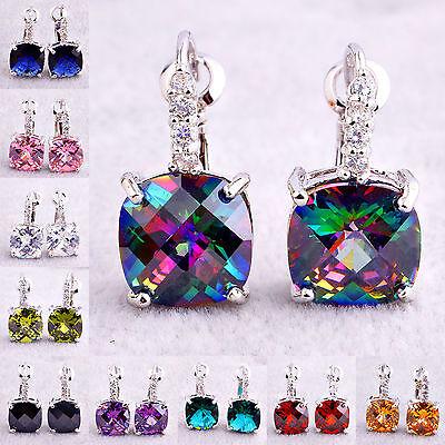 Heart Cut Pink & RainbowTopaz & Multi-Color Gemstone Dangle Hook Silver Earrings