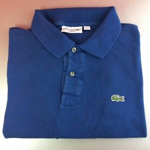 Lacoste-XXL-2XL-7-bleu-solide-a-manches-courtes-Polo-Shirt-Logo-Genuine