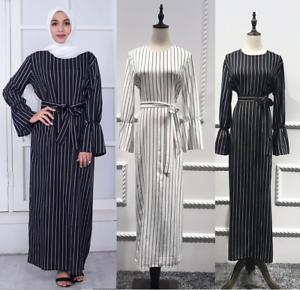 7ddeec72d8790 Image is loading Muslim-Women-Stripe-Dress-Long-Sleeve-Tunic-Maxi-