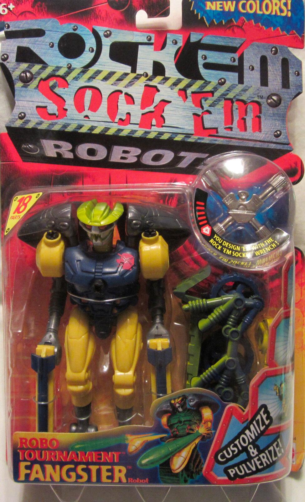 Rock 'em Calcetín 'em Robots Robo Torneo Fangster 2001 Mattel Nuevo