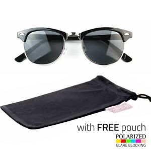 67b6c65693 Details about Classic Retro POLARIZED Style Half Frame Sunglasses Shades  Black Free Pouch