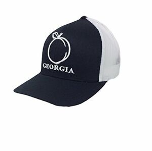Georgia-Peach-Trucker-Hat-Black-Cap-with-White-Mesh-and-White-Embroidery