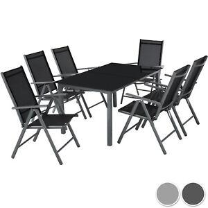 Dettagli su Alluminio set mobili da giardino 6+1 tavolo sedie pieghevole arredo esterno