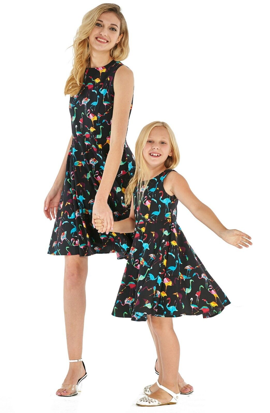 Hawaii Hangover Mother Daughter Matching Luau Outfit In Flamingo Party Black